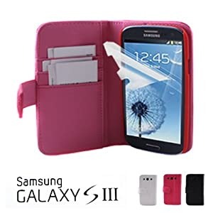 GMYLE(R) Pink PU Leather Wallet Magnetic Wake Up Sleep Function Case Flip Folio Cover Skin Pouch Pocket Stand with Money Sleeve Credit Cards Holder for Samsung Galaxy S III 3 I9300 with Screen Protector and LCD Micro Fiber Reusable Cleaning Pad