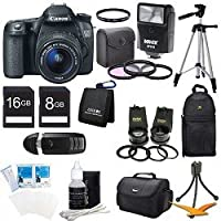 Canon EOS 70D 20.2 MP Digital SLR Camera with Dual Pixel CMOS AF Full HD 1080p Video with Movie and EF-S 18-55mm F3.5-5.6 IS STM with Canon EF-S 55-250mm STM f/4-5.6 IS Image Stabilizer Telephoto Zoom Lens + 58mm 2x Professional Lens + High Definition 58m