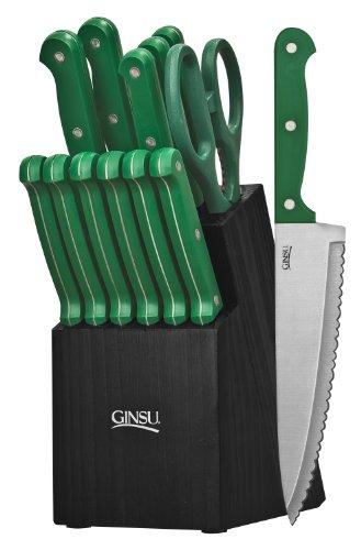 Ginsu 3888 Essential Series 14-Piece Cutlery Set With Black Block, Green
