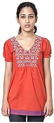 Izna Women's Slim Fit Top (IDWT102CR-Large, Coral, Large)
