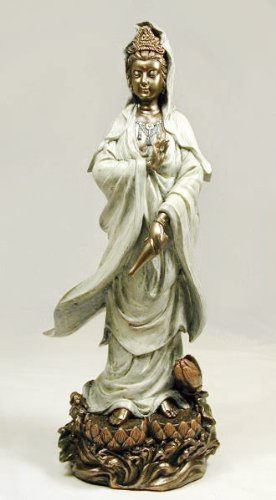 WHITE ROBE KUAN-YIN ON LOTUS, Real Bronze Powder Cast Statue 12 1/2-inch