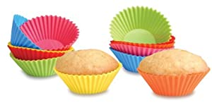 SiliconeZone Set of 12 Assorted Mini Muffin-Cups: Solid colors