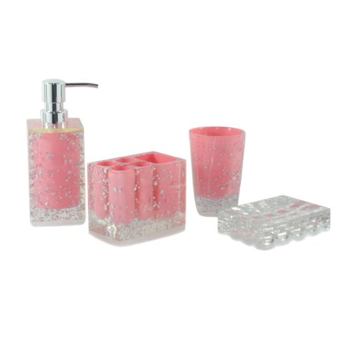 Popular pink bathroom decor for Pink bathroom accessories sets