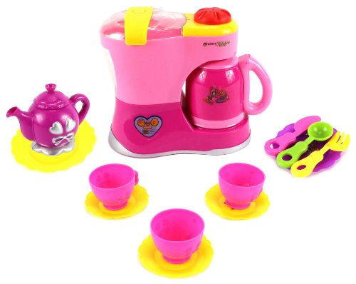 Daily Fun Tea Time Brewer Children'S Pretend Play Battery Operated Toy Tea Set W/ Accessories