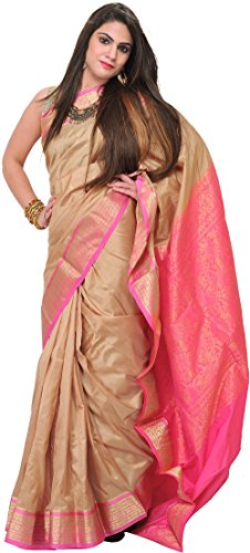 Exotic India Taos-Taupe Bangalore Silk Saree with Woven Bootis and Brocad - Gold
