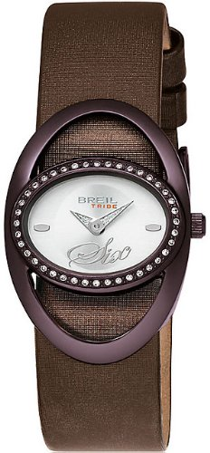 Breil Women's Watch Analogue Quartz TW0285 Black Leather Strap Silver Dial
