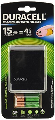 Duracell CEF27 - Caricabatterie, 15 minuti di ricarica = 4 ore d'uso (Ricarica completa in 45 minuti)