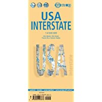 EE.UU. Interestatal(Interstate plano de carreteras plastificado. Escala 1:4.000.000. Borch.: USA (West), USA (...