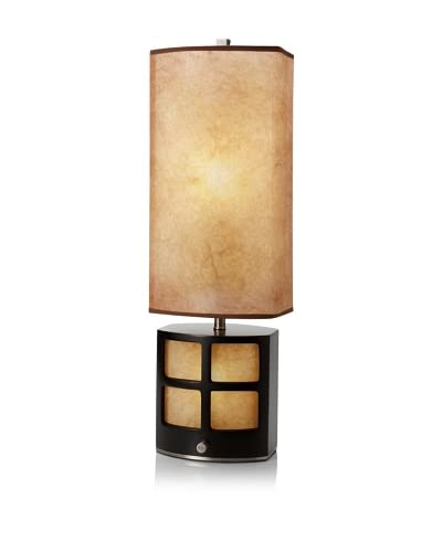 Nova Lighting Ventana 1-Light Table Lamp with Nightlight, Brushed Nickel