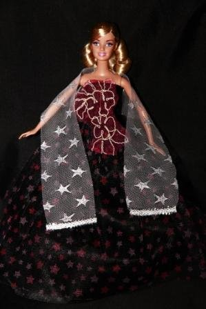 BUYS BY BELLA Purple Barbie Sized Doll Gown with Stamped Stars - 1