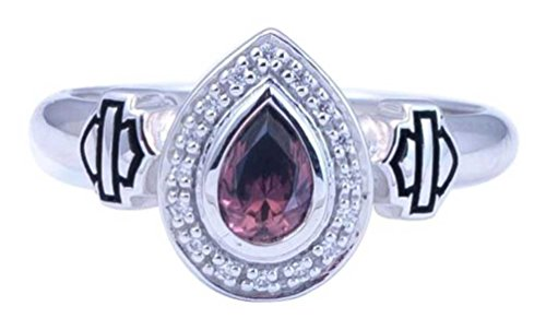 Harley-Davidson Women's Rhodolite Crystal Teardrop Ring, Silver HDR0394 (10) (Rhodolite Crystal compare prices)
