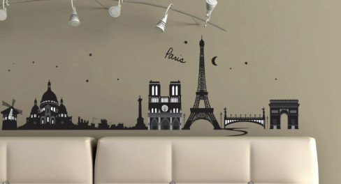 (20x28) Paris, France Skyline Repositional Wall Decal