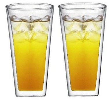 Sun's Tea(TM) 20oz Trapez Strong Double Wall Cooler Glasses/Tumblers for Iced Tea/Beer/Cocktail/Lemonade, Set of 2
