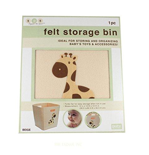 """Collapsible Felt Storage Bin - 12"""" X 12"""" 14"""" (Beige Giraffe)"""