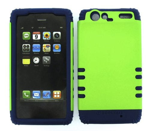 Shockproof Hybrid Cell Phone Cover Protector Faceplate Hard Case And Dark Blue Skin With Mini Stylus Pen. Kool Kase Rocker For Motorola Droid Razr Xt912 Green Db-A008-Pd