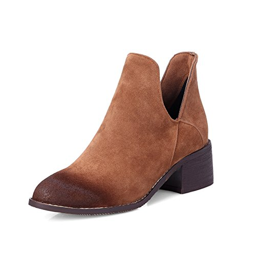 Lucksender Womens Pointed Toe Chunky Heel Ankle High Boots 9B(M)US Brown (13398 Chart compare prices)