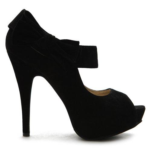 Ollio Women's Shoe Platform Open Toe High Heel Ribbon Accent Multi Color Pump (10, Black)