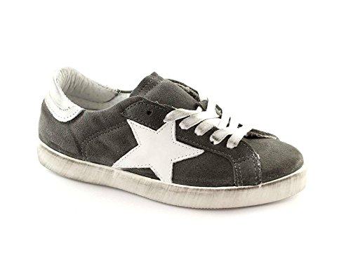 DIVINE FOLLIE 21-101 grigio bianco scarpe donna sportive sneakers lacci pelle 40