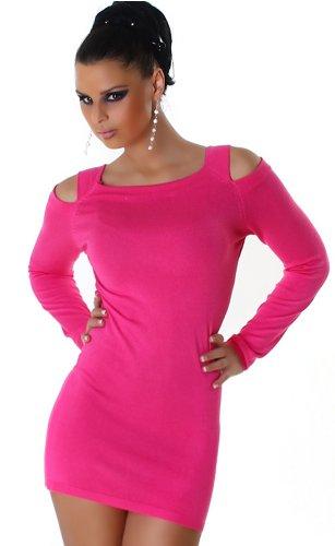 Jela London Damen Strickkleid Kleid Schulterfrei Einheitsgröße 32,34,36,38 verschiedene Farben