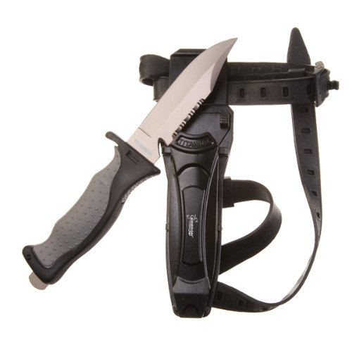"Seavenger Titanium Knife & Knife Strap for Scuba Diving / Snorkeling Diver (4 3/8"" Blade) Sharp Tip"