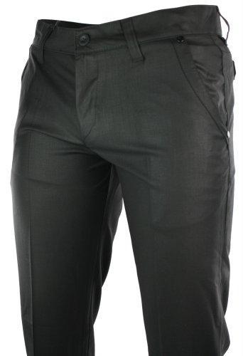Mens Slim Fit Trousers Black Pocket Stud Design Italian Smart