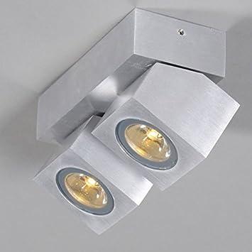 qazqa design industriel industriel moderne spot led rhodium 2 aluminium aluminium cube. Black Bedroom Furniture Sets. Home Design Ideas