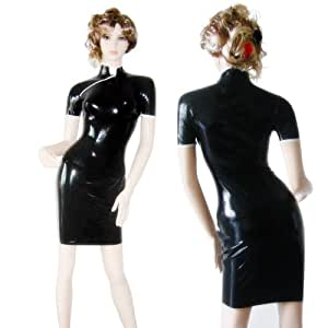 AngelDis latex dress latex cheongsam black with white trim short sleeves #06010 (S)