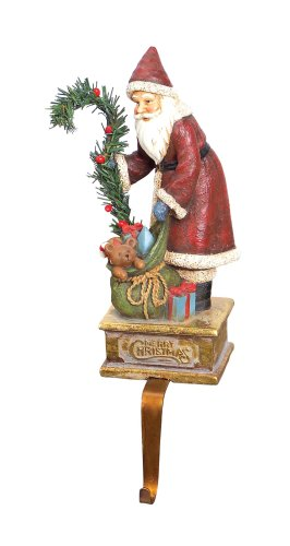 Melrose International Teddy Bear Santa Stocking Holder