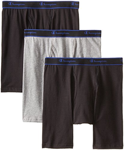 Champion Men's 3 Pack Performance Cotton Long Leg Boxer Briefs, Black/Grey/Black, Large (Champion Underwear Men compare prices)