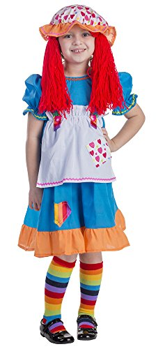 Rainbow Rag Doll Costume - Size Toddler 4 (Raggady Ann Costume)