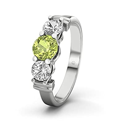 21DIAMONDS Sabrina Peridot Brilliant Cut Women's Ring 14Carat (585) White Gold Engagement Ring