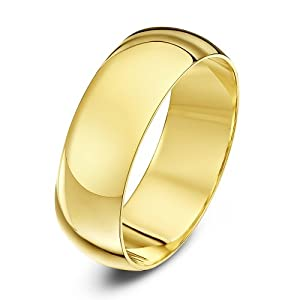 Theia 9ct Yellow Gold - Super Heavy D Shape - Highly Polished - 7mm Wedding Ring - for Men or Women - Size W