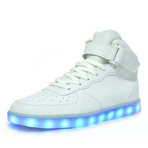 01. Helen's Men's Pinkmartini 7 Colors Light Up High Top Sports Sneakers