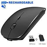 Rechargeable Wireless Mouse, Pasonomi 2.4G Slim Mute Silent Click Noiseless Optical Mouse with USB Receiver (Stored at Bottom of The Mouse) Compatible with Notebook, PC, Laptop, Computer, MacBook