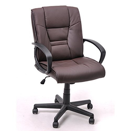 Coavas Leather Executive Office Computer Swivel Chair with Arms, Pa Nylon Chair Castor (brown)