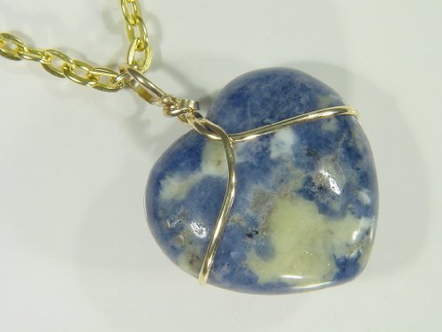 "14K Gold Fill Wire Wrapped Natural Sodalite Puff Heart Necklace Pendant With 18"" Gp Chain"
