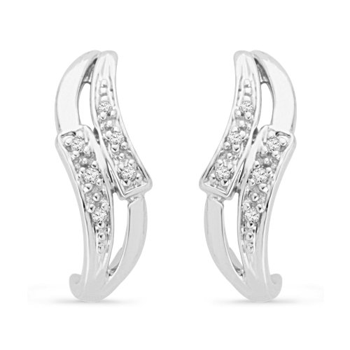 Platinum Plated Sterling Silver Round Diamond Fashion Earring (1/20 CTTW)