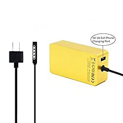 KINGDO Surface Power Supply Adapter 48W 12V 3.6A for Microsoft Surface Pro 2 & Pro 1 Tablet with 6Ft Power Cord Including a storage pouch bag (Gold)