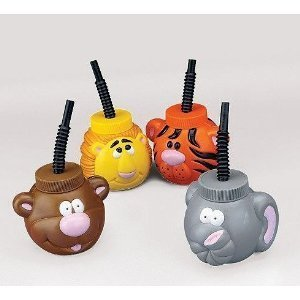 Check Out This Plastic Zoo Animal Sipper Cups - 1 Dozen Assorted Cups