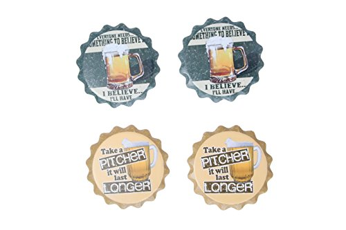 Coasters - Blue Brown Colorful Solid Round Decorations Decor Novelty Bar Pitcher Beverage Non Absorb Party Beer Art Coaster - 4 Pc Set - 4 in x .25 inches