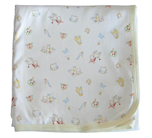 Kissy Kissy Unisex-Baby Infant Green Acres Print Receiving Blanket-White With Yellow-One Size