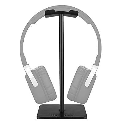Headphone Headset Stand Display Holder Detachable Aluminum Solid Sturdy Hanger with Soft TPU Headrest Great for Sennheiser, Sony, Audio-Technica, Bose, Shure, AKG, Panasonic Headphones and More, Black