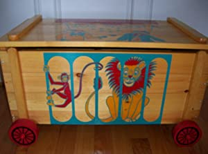 Wood Circus Toy Chest Children Blanket Hope Magazines Newspapers Logs