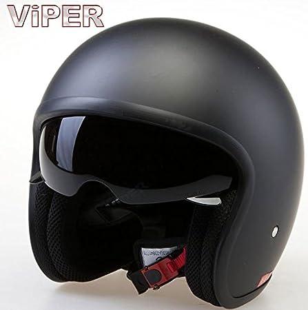 Casque Moto Jet Viper V-06 Scooter casque Jet Vintage Casque avec pare-soleil interne Noir Mat (S)