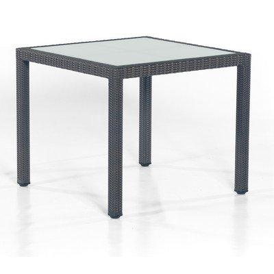 """Tisch """"Vera Cruz"""" quadratisch mit Glasplatte Größe: 75 cm H x 90 cm W x 90 cm T, Farbe (Geflecht): Graphit-Schwarz günstig bestellen"""