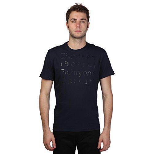 Cerruti 1881 - Maglietta di cotone a maniche corte frammenti di parole - Uomo (L) (Blu mezzanotte)