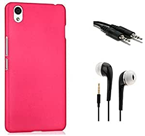 Tidel Pink Matte Finish Rubbrised Slim Hard Back Cover For OnePlus X With 3.5mm Handsfree Earphone & AUX CABLE
