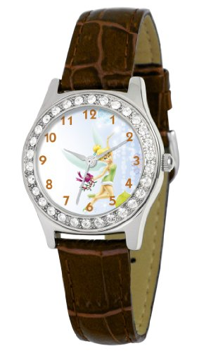 Disney Women's D1515S007 Queen Collection Tinker Bell Brown Leather Strap Watch
