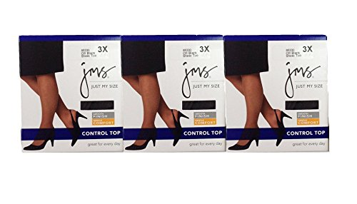 Just My Size (JMS) Women's Plus Size Smooth Thighs Finish Control Top (3X, Off Black (3 Pack))