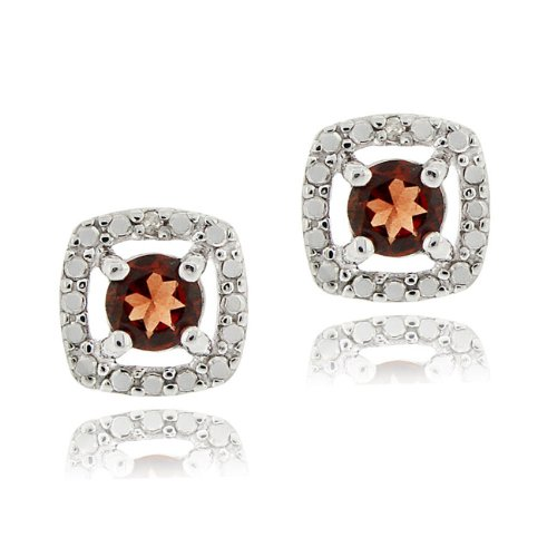 Sterling Silver Garnet & Diamond Accent Square Stud Earrings